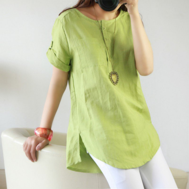 New Sum Summer Casual Women Shirts Woman Clothes Short Sleeve Loose Cotton Linen Women Tops Female Blouse
