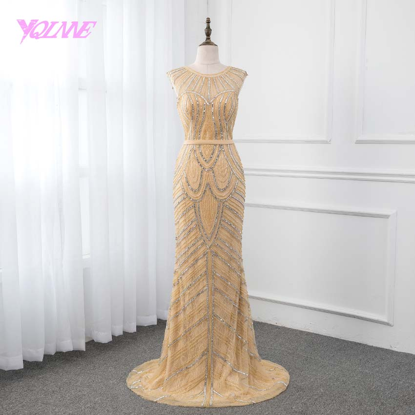 YQLNNE 2019 Gold Crystals Long   Prom     Dresses   Sleeveless Beading Mermaid Formal Gown