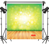 LB Polyester & Vinyl Deamy Green Yellow Light Spot Wooden Floor Studio Backdrop Photography Photo Props Photographic Background