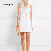 Seamyla New Fashion Runway 2017 Designer Vestidos Women Sleeveless Notched Double Breasted Slim Blazer Celebriry Party Dresses