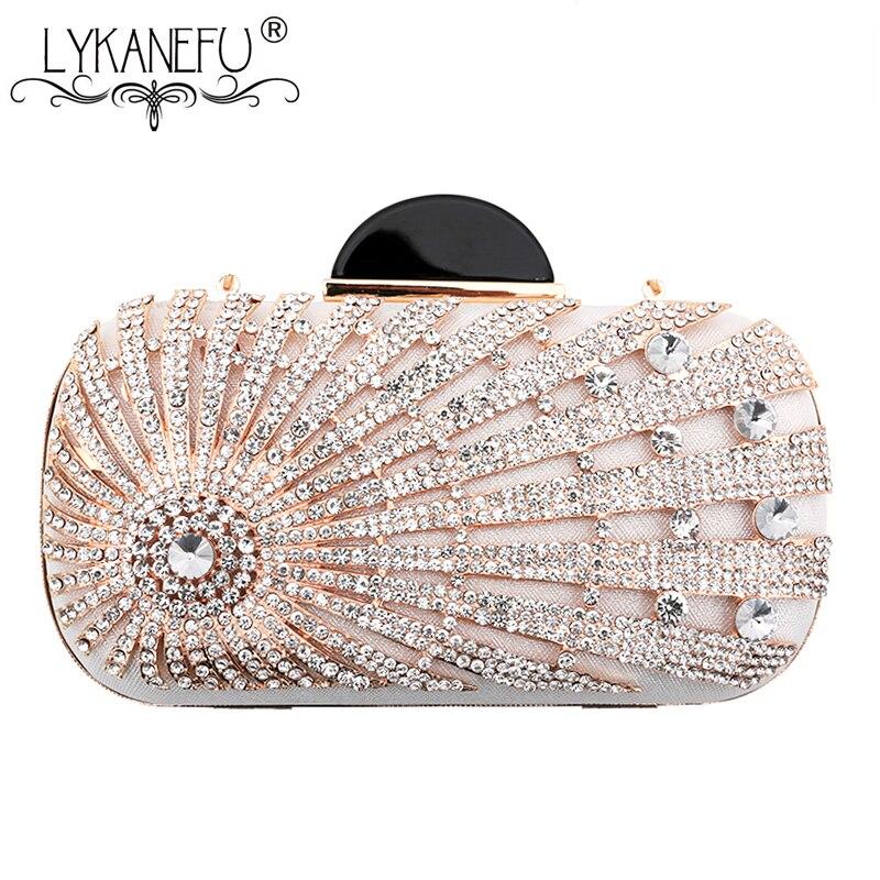 LYKANEFU Luxury Beading Diamonds Women Evening Bag Box Clutch Purse Women Bag Day Clutches Ladies Wedding Bride Hand Bag Phone