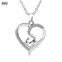 BLS232 Lovely Heart Shape Mother and Children Crystal Rhinstones Pendant Necklace Jewelry For Family Gifts