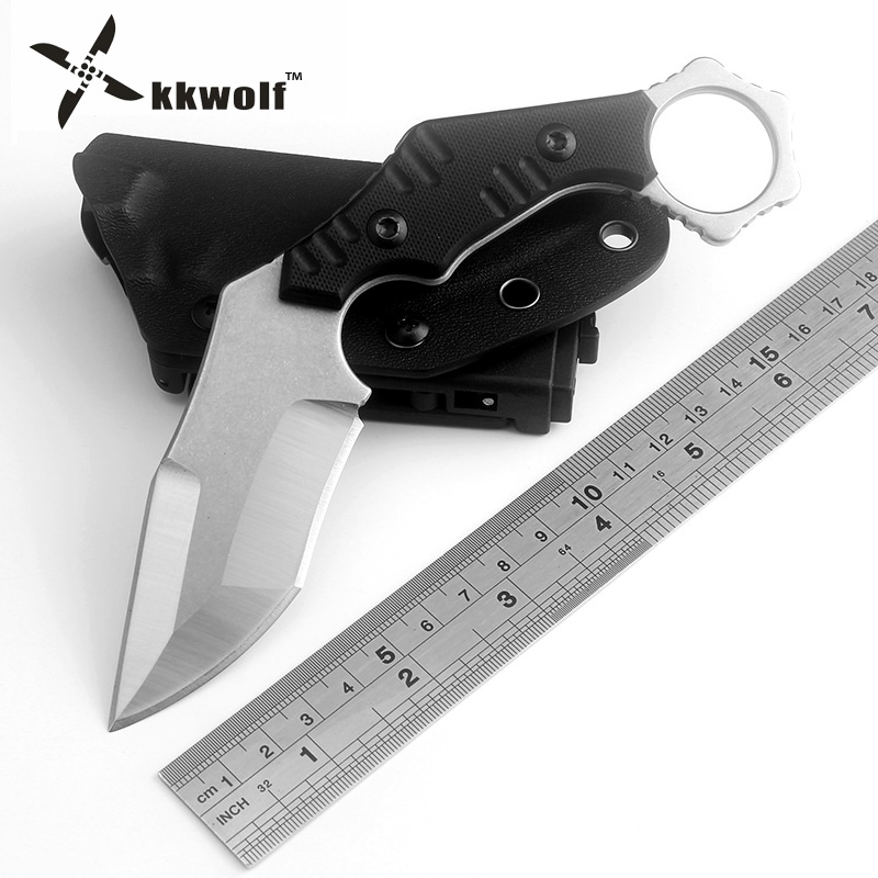KKWOLF OUTDOORS Tactical Karambit Cs go Camping Survival Knives EDC AUS-8 steel Hunting knife K sheath defensive claw knife tool edc tactical handle knife portable pocket fold hunting camping knives survival defences for mens multi tool small keychain black