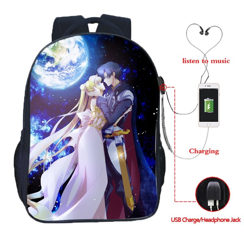 Beautiful Sailor Moon Backpack USB Charge School Bags Students Sailor Moon School Backpack Fashion USB Charging School Rucksack