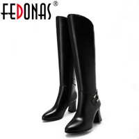 FEDONAS 2018 Women Knee High Boots Genuine Leather Autumn Winter Warm Back Zip High Motorcycle Snow