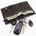 Genuine Leather Wallets Men Key Holder Housekeeper Keys Organizer Women Keychain Covers Zipper Key Case Bag Money Clips
