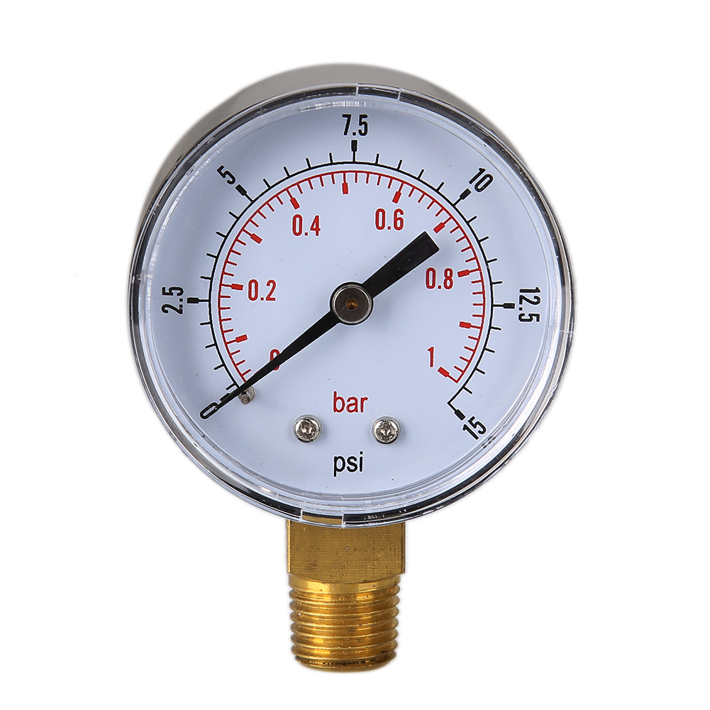 TS-50-15psi 0/15 PSI 0/1 Bar Water Pressure Gauge Manometer Gas Compressor Hydraulic Vacuum Double Scale Air Pressure Manometer