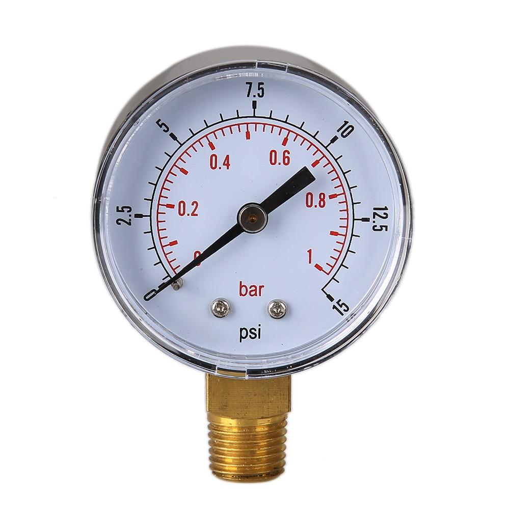 TS-50-15psi 0/15 PSI 0/1 Bar víznyomásmérő manométer Gázkompresszor hidraulikus vákuum kettős skála légnyomás manométer