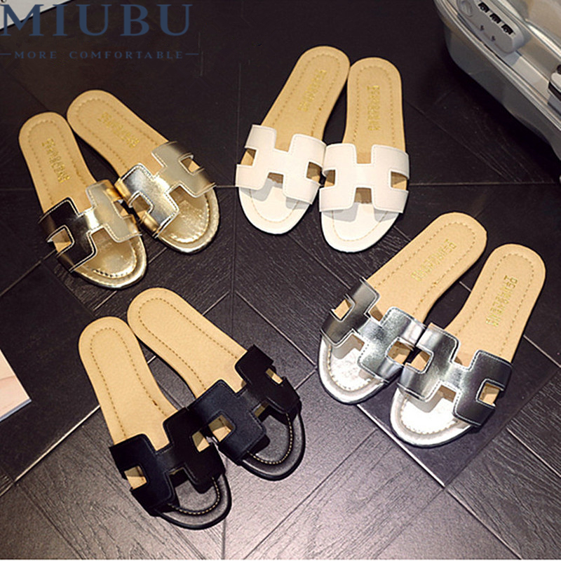 MIUBU Summer H Letter W Slippers Fashion Flat Heel Home Bathroom Slip-resistant Slippers Female Beach Grag Sandals slip resistant summer sandals female drag platform female beach slippers flatbottomed women s slippers