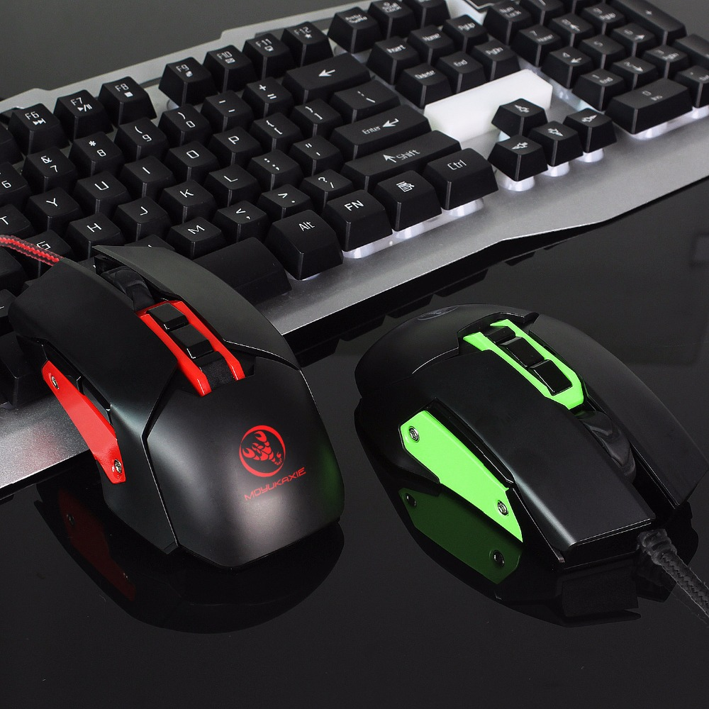 Backlit Gaming Mouse Mechanical Macros Define Wired Mice 3200DPI 9 Key USB Left Right Hand Dual use Mouse For PC in Mice from Computer Office