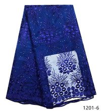 Nigerian Lace Fabric With stone High Quality African Hot Sale Women Wedding Blue Colour French 1201