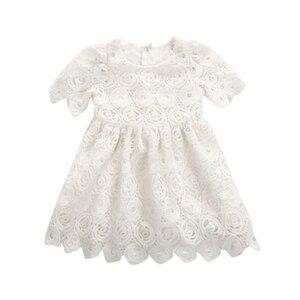 Vestido branco de Verão 2018 Do Bebê Recém-nascido Meninas Rendas Floral Princesa Vestidos Pageant Partido Vestido a Roupa Do Bebê 0-24 M