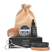 ISNER MILE 5pcs/set Beard Grooming kit Beard Oil  Wax Smooth styling Blam Comb Moustache Brush Scissors Beard Care kit