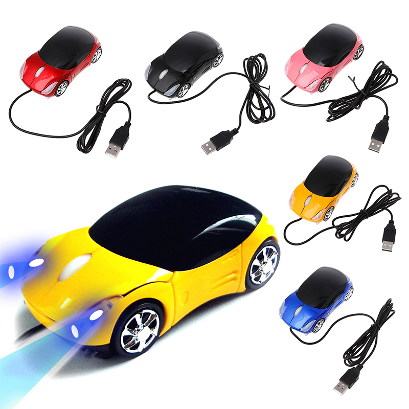 2018 New 1600DPI Mini Car Shape USB Optical Wired Mouse Innovative 2 Headlights Mouse For Desktop Computer Laptop Mice Brand New