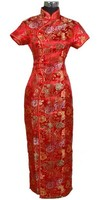Free Shipping Red Chinese Bridal Wedding Dress Women S Satin Rayon Cheongsam Long Qipao Flower Size