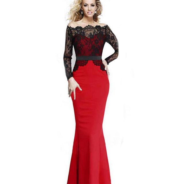 5cc1c889c67 Red Blue Maxi Dress Women Lace Dresses Elegant Evening Party Dresses Vintage  Robe Longue Mermaid Clubwear Long Sleeve Wrap Dress