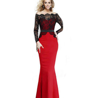 Red Blak Blue Lace Patchwork Maxi Dress Women Slash Neck Long Sleeve Elegant Evening Party Dresses