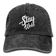 0e51d754086 Print Custom Baseball Cap Hip Hop Peaked Cap Stay Woke Retro Washed Dyed  Cotton Adjustable Plain