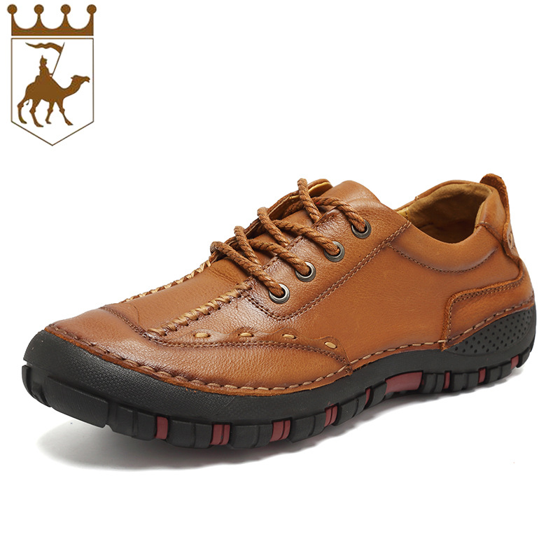 BACKCAMEL Genuine Leather High Quality New Handmade Comfortable Lightweight Men's Casual Shoes Portable Driving Shoe Laces Flats