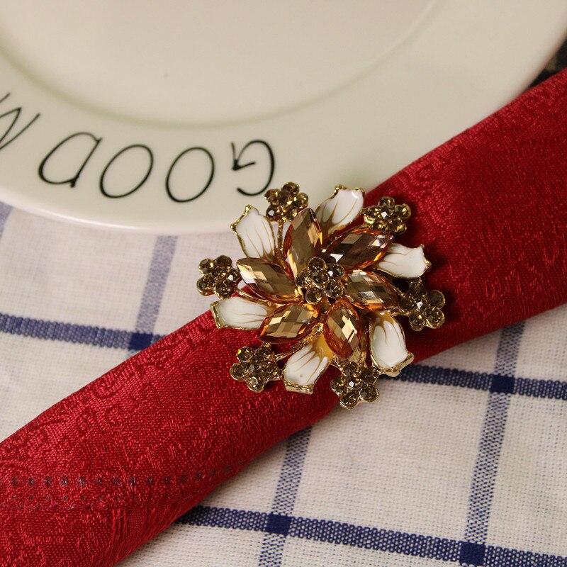 5PCS luxury napkin ring alloy diamond buckle hotel model room