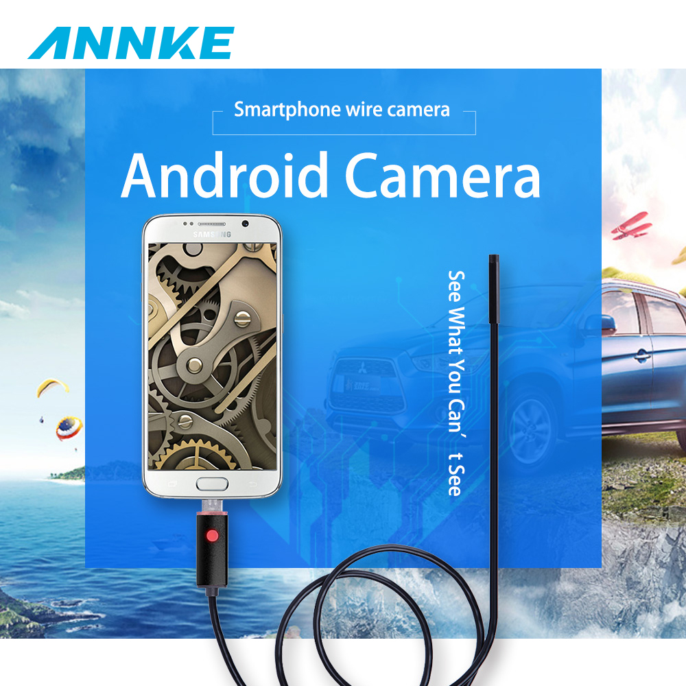 ANNKE 2M 5M 10M Lens 6LED 2in1 Endoscope IP67 Waterproof 5.5MM Inspection Camera Micro USB Video Camera For OTG Android Phones