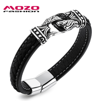 Fashion Men Leather Bracelet Stainless Steel Vintage Bracelet Punk Bangles Rock Men Domineering Jewelry Homem Pulseira