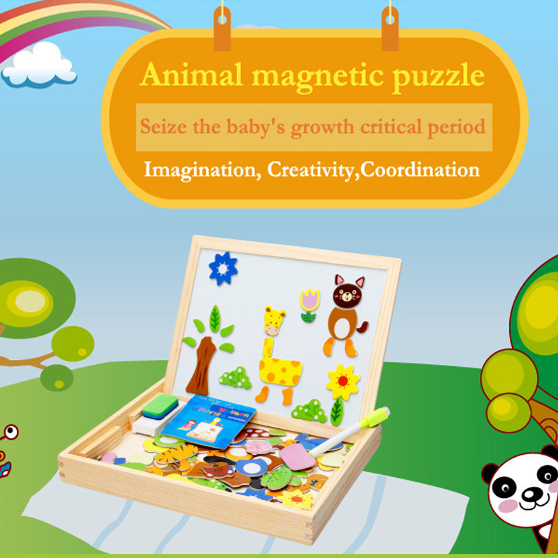 Children's Multifunctional Educational Farm Jungle Animal Wooden 3D Magnetic Puzzle Toy  Kids Jigsaw Baby's Drawing Easel Board 3d wooden block farm jigsaw puzzle children intelligence toy 16pcs set