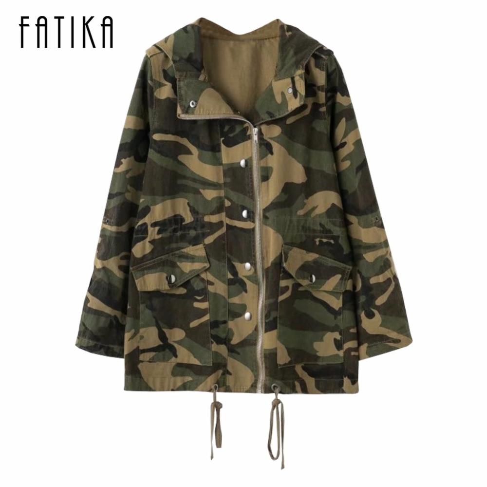 FATIKA 2017 осень-зима Для женщин Camouflag печатных джинсовая ткань куртки Дамы передняя молния карманы куртки верхняя одежда пальто