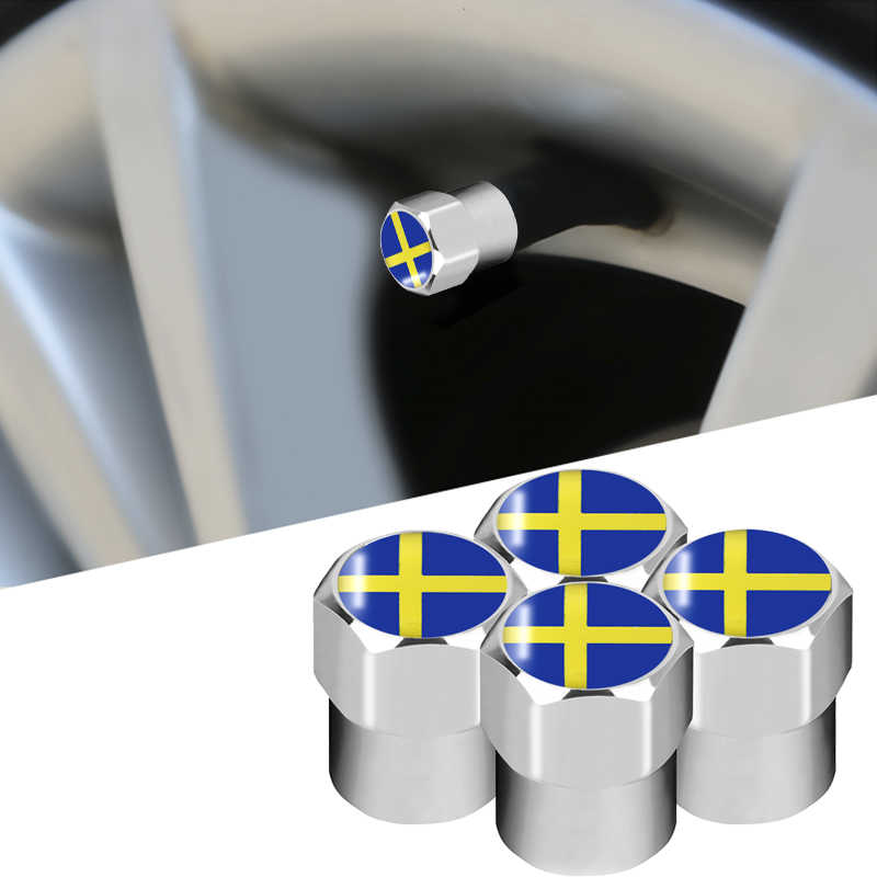 4pcs New Sweden flag Emblem Car Wheel Tire Valve Cap Tyre Dust Cap For Lada Hyundai Toyota Volvo KIA Audi Bmw Chevrolet