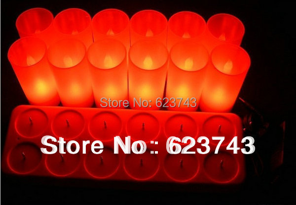 Free Shipping! Rechargeable Flameless LED Red Candle Light +12PCS/SET+110V/220V adaptors/ home Candle lamp,led gifts wholesales dfl 3x6 inch flameless real wax pillar electronic led candle with timer with embossed gold pearl