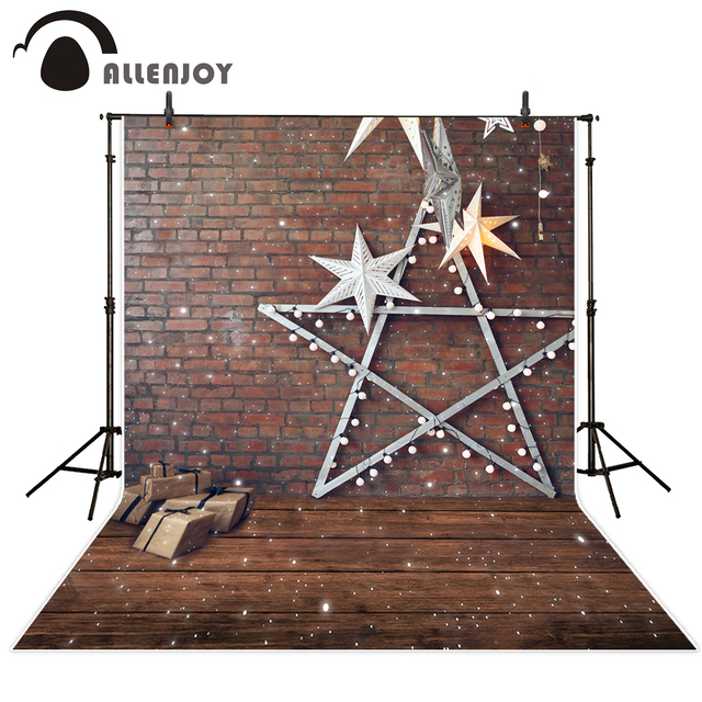Allenjoy photography backdrops red brick wall snowflake star decoration wood beautiful backgrounds for photo studio professional