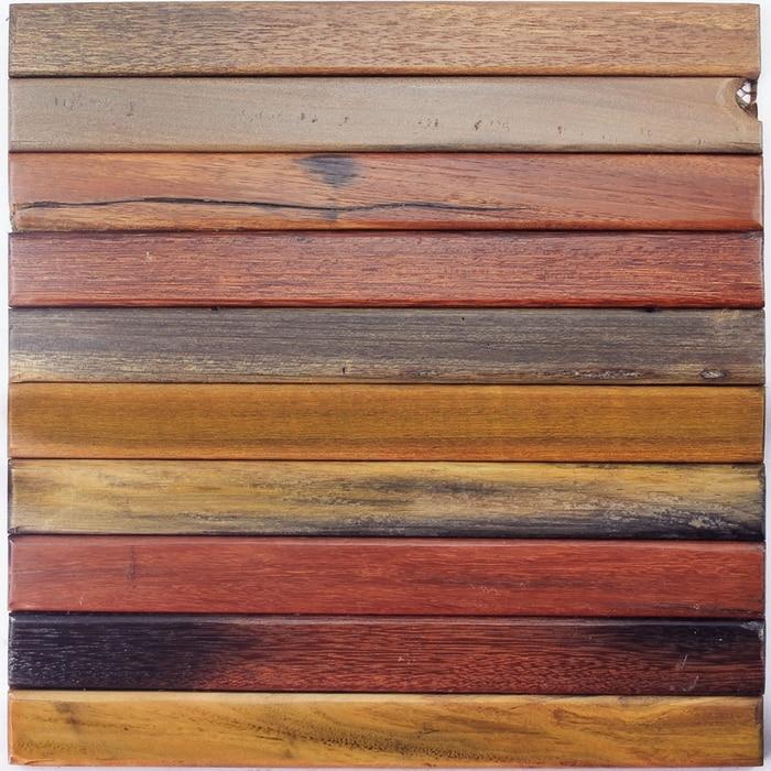 Wood Finish Elevation Tiles : Mm natural log wood mosaic tile tiles floor