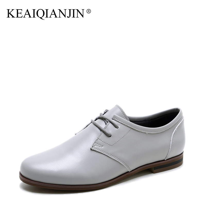 KEAIQIANJIN Woman Genuine Leather Derby Shoes Black Gray Plus Size 33 - 42 Spring Autumn Flats Lace-Up Genuine Leather Oxfords keaiqianjin woman sheepskin flats black red silvery plus size 33 41 spring autumn derby shoes lace up genuine leather shoes