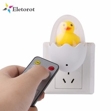 Duck Egg Night Lamp Wall Socket Wireless LED Remote Control Night Light Bedroom Lamp For Children Kid Gift Soft Light Warm White