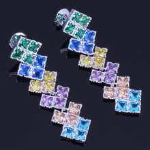 Exquisite Square Multigem Multicolor Brown Cubic Zirconia 925 Sterling Silver Drop Dangle Earrings For Women V0199