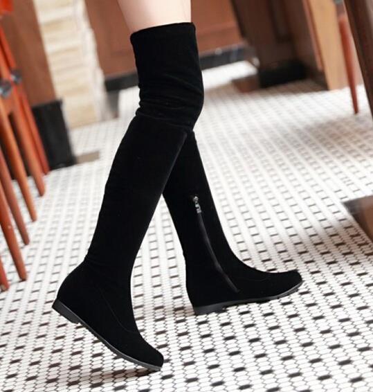 Pointed toe sexy tight thigh high boots Faux fur side zipper ...
