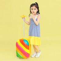 Детский светящийся односторонний чемодан на колесиках, 3D радужный чемодан, 16 мультяшный пансион, персонализированная детская школьная сум