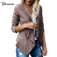 Apparel Autumn Spring Fashion Women Basic Coats Solid Imitation Suede Camel Jacket Thin Cardigan Streetwear Female