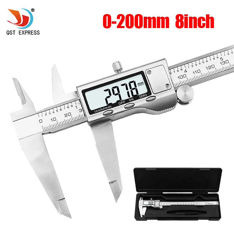 0 200mm 8inch Stainless steel Electronic Vernier Caliper LCD Electronic Digital Gauge Stainless+box