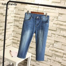 Calf-length Women Jeans Capris Plus Size 3 4 5 6 XL Casual Bleached Slim Stretch Pencil Pants Denim Trousers Blue Black SWM28
