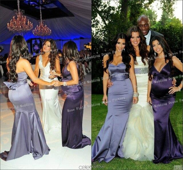 Kim Kardashian lila meerjungfrau brautjungfer Kleid bei Khloe ...