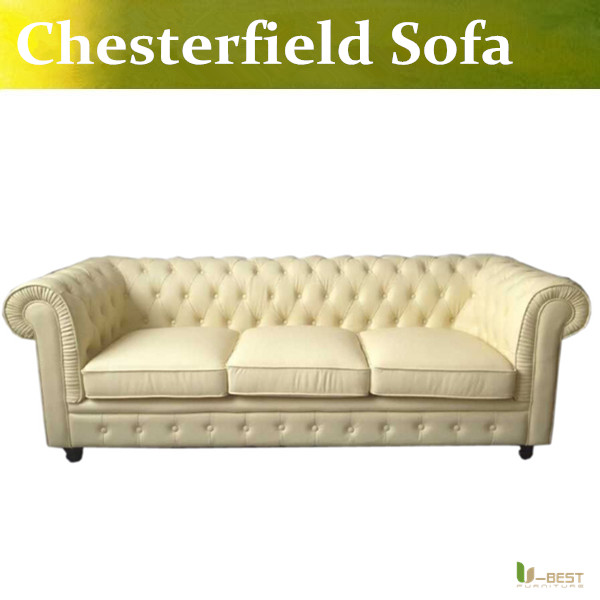 U BEST High Quality Leather Chesterfield Sofa In Beige ColorBrand New 3 Seater Antique Real Couch