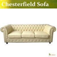 U-BEST yüksek kalite deri chesterfield kanepe bej renk, Marka Yeni Chesterfield 3 Kişilik Kanepe Antika Gerçek Deri Kanepe