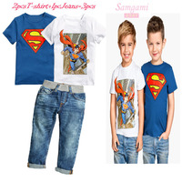高品質の2015新しい夏の男の子半袖2ピースtシャツ+ジーンズ3ピースセット子供のカジュアル服子供スーパーマンスーツ6セッ