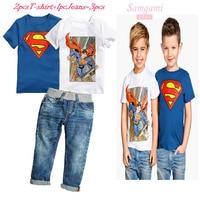 High Quality 2015 New Summer Boys Short Sleeve 2pcs T Shirt Jeans 3pcs Set Children S
