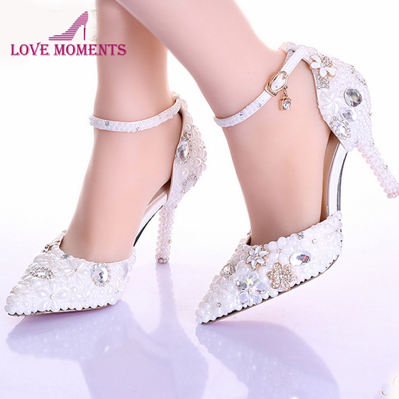 Rhinestone Pearl Wedding Dress Shoes Pointed Toe Stiletto Heels White 9cm Women Lady Cocktail Evening Bridal Shoes Prom Pumps pointed toe high heels for wedding party rhinestone covered bridal dress shoes stiletto heel banquet pumps white pink red color
