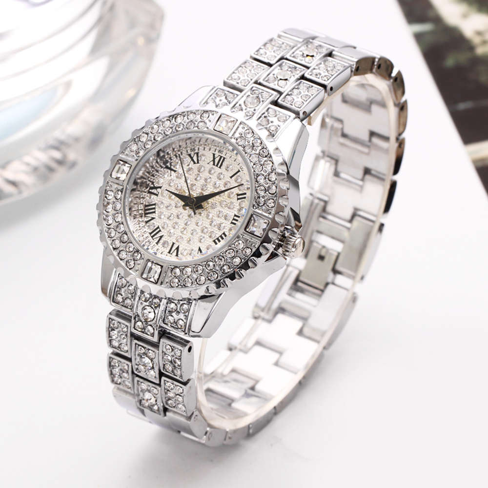 2019 crystal watch women dress Fashion amp Casual watches luxury white and gold color quartz ladies stone watches in Women 39 s Watches from Watches