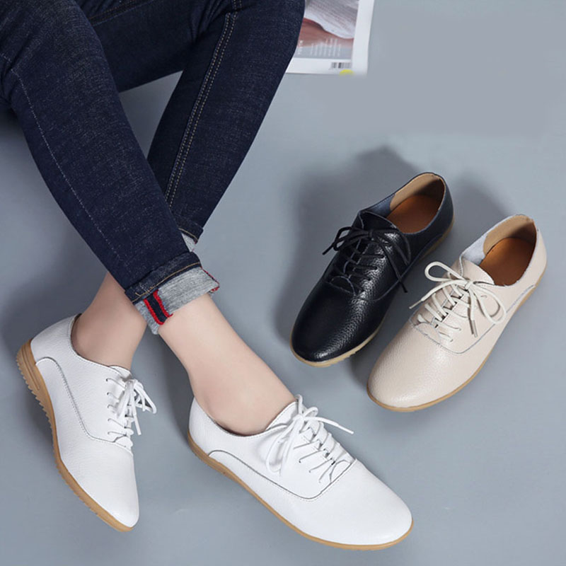 Bailehou High Quality Falts Women Oxfords Shoes Lace Up Brogue Shoes Casual Comfortable Ladies Woman Shoes Genuine Leather NEW