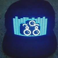 Sombrero de fiesta con luces Led, disfraz de Halloween con brillo activado por sonido