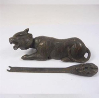 Asian Antiques China Decorated Copper Usable Tiger Shaped Lock and Key statue Christmas gift shipping free